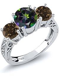 2.22 Ct Green Mystic Topaz Brown Smoky Quartz 925 Sterling Silver 3-Stone Ring