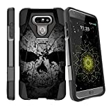 MINITURTLE Case Compatible w/ LG G6 Black Case| LG G6 Hybrid Case [SHOCK FUSION] Dual Layer Stand Case w/ Designs Faded Skull