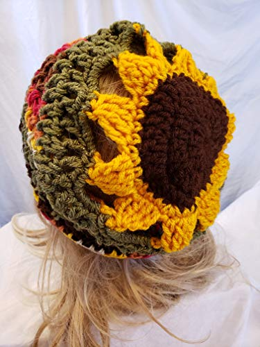 - Crochet Sunflower slouch hat. made by Gentree on AMAZON. Ladies Size.
