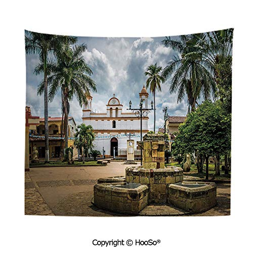 Durable Washable and Reusable Tapestry Wall Hanging Carpet 59x79in,Main Square of Copan Ruinas City Honduras Central America Mayan Town Palms Decorative,Multicolor Comfy and No Strange Odor Home Deco