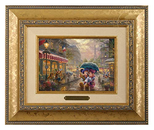 Thomas Kinkade Studios Mickey and Minnie in Paris 5 x 7 Brushwork (Gold Frame) ()