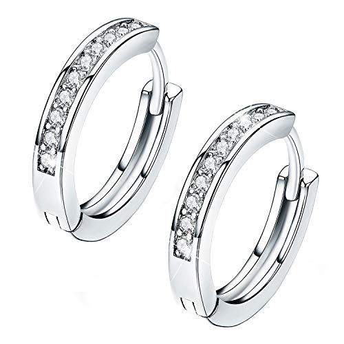 14k White Gold Plated Tone CZ Small Hoop Huggie Earrings For Women Teen Girls jewelry, 0.67''