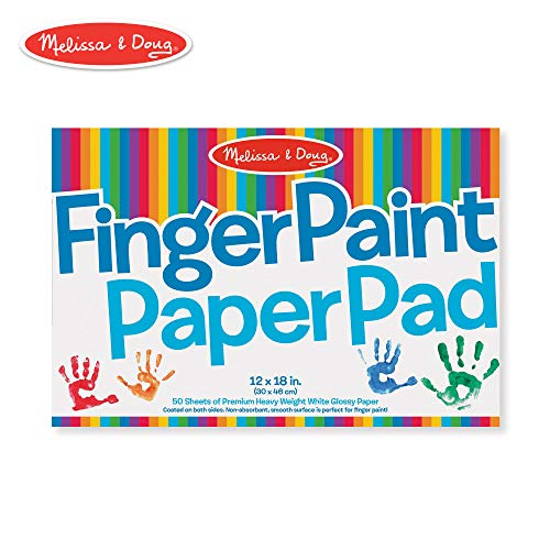 "- Melissa & Doug Finger-Paint Paper Pad, 12"" x 18"" (Arts & Crafts, Top-Bound Pad, Glossy Paper, Nonabsorbent, 50 Sheets)"