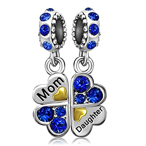 JMQJewelry Mom Heart Mother Daughter Clover Blue Birthstone Crystal Dangle Beads For Charms Bracelets