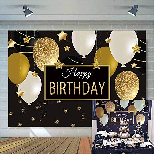Allenjoy 7x5ft Happy 30th 40th 50th 60th Birthday Backdrop Black Gold Balloons Golden Glittering Sparkling Stars Men Women Bday Party Background Photo Studio Booth Kids Cake Table Banner -