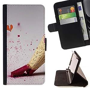 For Samsung Galaxy S6 Case , Disegno matita di colore - la tarjeta de Crédito Slots PU Funda de cuero Monedero caso cubierta de piel