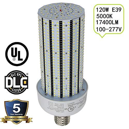 UL DLC Listed 120W LED Corn Bulb Replace 400W Metal Halide Bulbs,5000K Retrofit Shoebox Parking Lot Light, Warehouse High Bay Lights, AC100-277V (400 Watt Metal Halide Parking Lot Lights)