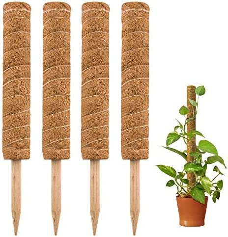 Tingyuan Moss Pole 17.7 inch Coir Totem Pole Stick Plant Support for Monstera and Climbing Plants (4 Pack)