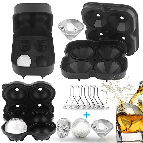 Silicone Ice Cube Tray Combo Molds Ice Cube Maker with 6 Funnels,Leak Free,3D Skull/Large Round Sphere/Diamond-Shape 100% Food Grade Silicone Ice Cube Maker,Whiskey Ice, Chocolate, Soap