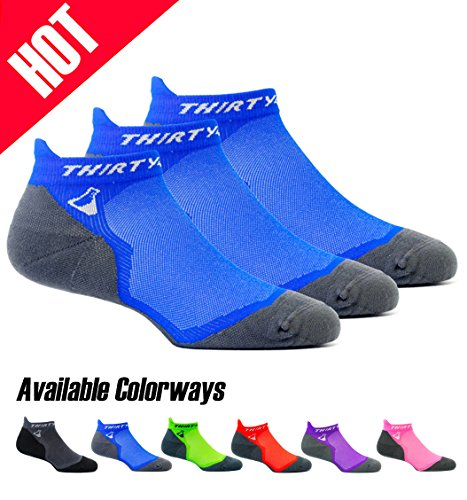 Thirty 48 Ultralight Athletic Running Socks for Men and Women with Seamless Toe, Moisture Wicking, Cushion Padding (Small - Women 5-6.5 // Men 6-7.5, [3 Pairs] Blue/Gray)