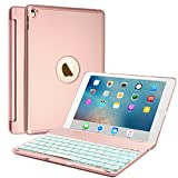 Keyboard Case for iPad Air 2/iPad Pro 9.7, Boriyuan Aluminum 7 Color Backlit Wireless Bluetooth Keyboard Folio Smart Cover with Auto Sleep/Wake for Apple iPad Pro 9.7 & iPad Air 2 - Rose Gold