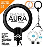 foto selfie - AURA DIMMABLE Ring Light Kit by Silverlake - Large 19 inch Professional Quality - 5400K - 500W Continuous Fluorescent RingLight that produces shadowless lighting for people Vlogging or products