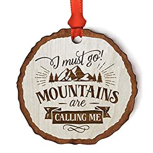 Andaz Press Real Wood Rustic Farmhouse Keepsake Christmas Ornament Engraved Wood Slab Mountains Are Calling 1 Pack Includes Ribbon And Gift Bag Amazon In Health Personal Care
