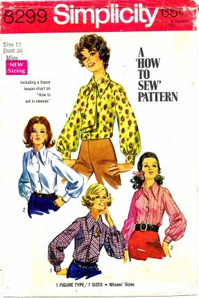 Simplicity 8299 Sewing Pattern Misses Blouse and Ascot Size 12 - Bust 34 60s Sewing Patterns