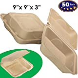 Biodegradable 9x9 Take Out Food Containers with Clamshell Hinged Lid 50 Pack. Microwaveable, Disposable Takeout Box to Carry Meals ToGo. Great for Restaurant Carryout or Party Take Home Boxes