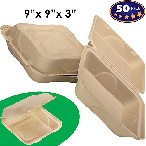 Biodegradable 9x9 Take Out Food Containers with Clamshell Hinged Lid 50 Pack. Microwaveable, Disposable Takeout Box to Carry Meals ToGo. Great for Restaurant Carryout or Party Take Home Boxes -