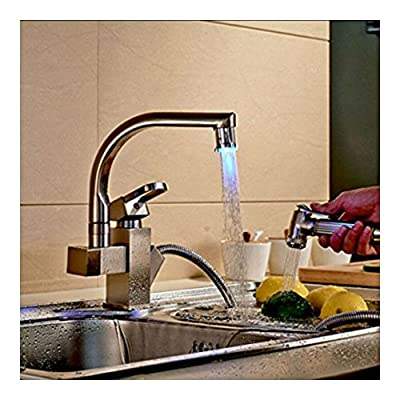 Brushed Nickel Kitchen Faucet LED Light Swivel Spout Pull Out Spray Mixer Tap