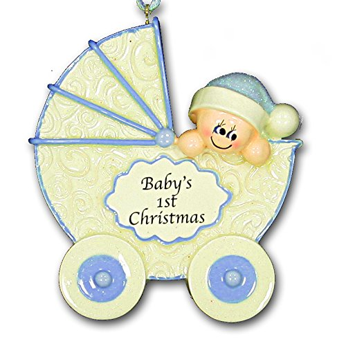 Baby's First 1st Christmas Ornament Carriage Design in Blue for Baby Boy