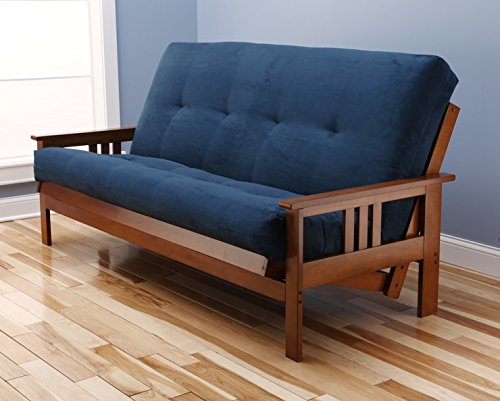Eldorado Futon Brown Finish Frame w/ Coil 8 Inch Mattress Full Size Sofa Bed (Navy)