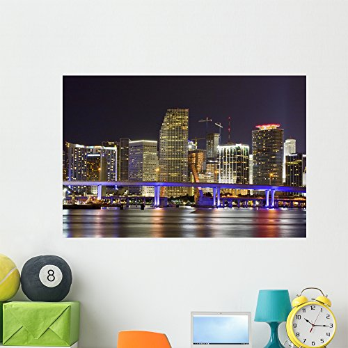 Colorful Night City Miami Wall Mural by Wallmonkeys Peel and Stick Graphic (48 in W x 32 in H) - Miami Place City