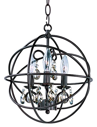 Maxim 25140OI Orbit 3-Light Pendant Single-Tier Chandelier, Oil Rubbed Bronze Finish, Glass, CA Incandescent E12 Incandescent Bulb , 2.4W Max., Damp Safety Rating, 3000K Color Temp, Standard Triac/Lutron or Leviton ()