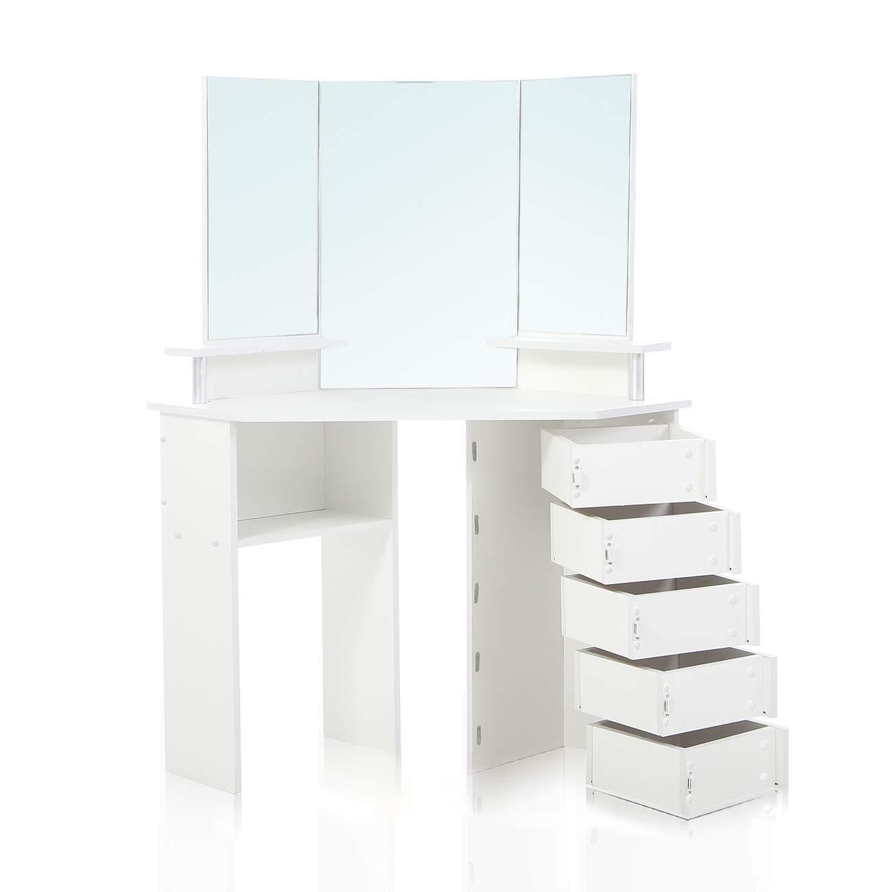 Makika Corner Dressing Table Mirror Set Wooden Vanity 5 Adjustable