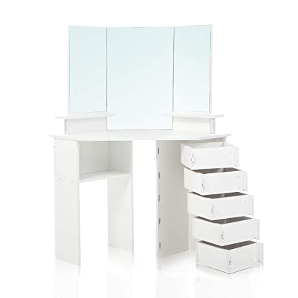 Bon Makika Corner Dressing Table Mirror Set Wooden Vanity 5 Adjustable Drawers  Makeup Dresser Furniture White Bedroom Desk Oval Mirror   TYRA:  Amazon.co.uk: ...