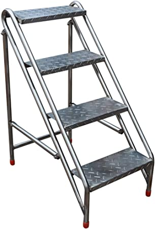 Taburete de Escalera de Acero Inoxidable Silla Plegable con Escalera de 4 Pasos para Taburete, escaleras Multiusos Sillas de Escalera de Pedales Anchos para jardín o fábrica, máx. 200kg: Amazon.es: Hogar