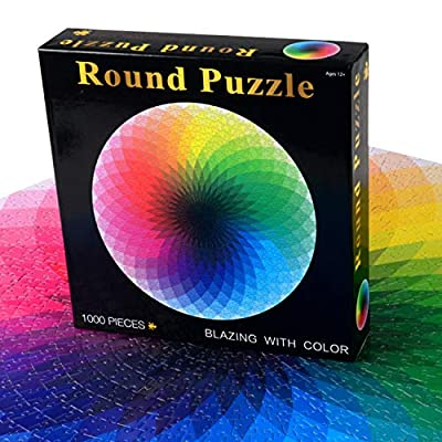 Jigsaw Puzzle, 1000 Piece Puzzles for Adults Teens, Large Round Gradient Puzzle Rainbow Difficult and Challenge, Decompression Puzzle Educational Game: Toys & Games