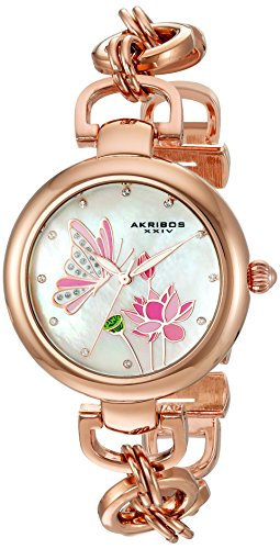 Akribos XXIV Women's Swarovski Crystal Landscaped White Mother-of-Pearl Dial with Rose-Tone Chain Link Bracelet Watch - Link Dial Pearl