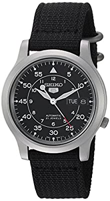 Seiko Men's SNK809 Seiko 5 Automatic Stainless Steel Watch with Black Canvas Strap by Seiko