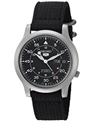 Seiko Mens SNK809 Seiko 5 Automatic Stainless Steel Watch with Black Canvas Strap