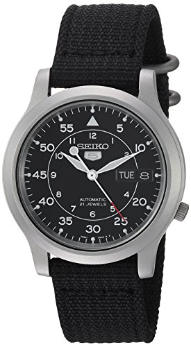 Seiko Men's SNK809 Seiko 5 Automatic Stainless Steel Watch with Black Canvas Strap (Mens Automatic Watch)