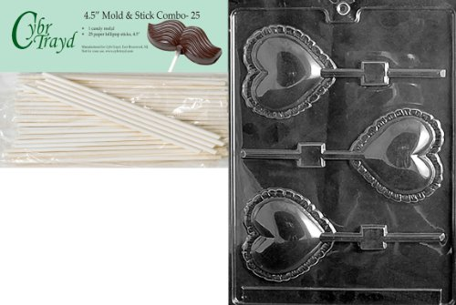 Cybrtrayd 45St25-V032 Large Lace Heart Lolly Valentine Chocolate Candy Mold with 25 4.5-Inch Lollipop Sticks