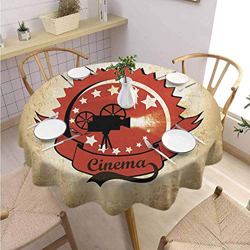 """DILITECK Movie Theater Banquet Round Tablecloth Old Movie Camera Surrounded by Stars on Grungy Background Printed Tablecloth Diameter 36"""" Pale Brown Vermilion Black from DILITECK"""