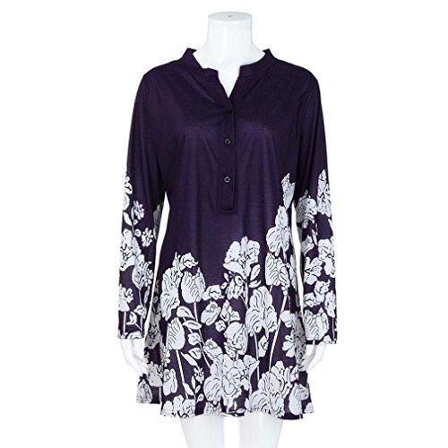 Manches Mode Imprim Bouton Grande Femmes Cou Longue V Taille Chemise Violet Longues Floral K0a1qw40