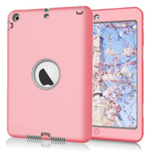 Hocase Dual Layer  Ruggged Hard Rubber Case Apple iPad mini 1 / 2 / 3 - Pink / (Pink Hard Rubber)