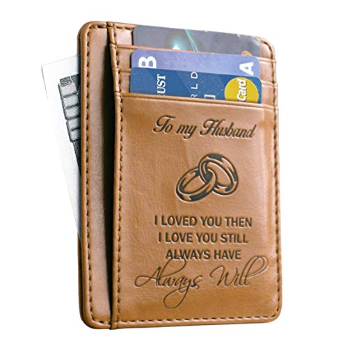 Memory Wife To Husband Gift, Best Anniversary Gifts For Him slim Wallet Card Holder (Last Minute Wedding Gift)