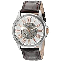 Lucien Piccard Men's 'Calypso' Stainless Steel and Leather Automatic Watch, Color:Brown (Model: LP-12683A-02S-RA-BRW)