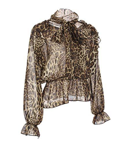 (Onoti Molazo Women Long Sleeve Tied Ruffle Shirt Leopard Printed Chiffon Blouse)