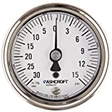 """Ashcroft 1009SW Type Stainless Steel Case Pressure Gauge with Stainless Steel System, 2.5"""" Dial Size, 1/4"""" NPT Lower Back Connection, 30"""" HG to 15 Psi Range"""