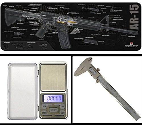 Ultimate Arms Gear Gunsmith Armorer's AR-15 AR AR15 Cutaway Bench Cleaning Gun Mat + Precision Digital Pocket Sized Stainless Steel Scale + 6