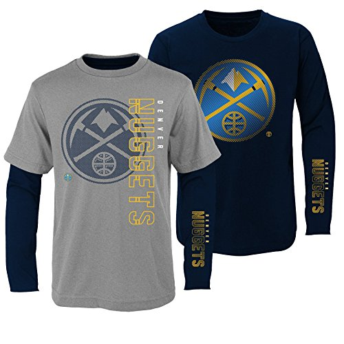 """NBA Kids & Youth Boys """"2 For 1 Play"""" Combo Tee Set Denver Nuggets-Heather Grey-M(10-12) from NBA by Outerstuff"""