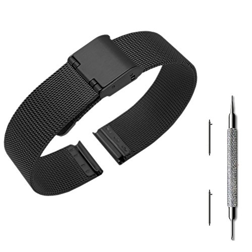 Pinhen 14mm Quick Release Watchband Mesh Stainless Steel Metal Watch Band Strap Bracelet for ASUS Zenwatch 3 / Pebble Time Round and Other Watches with 14mm Wide (Black)