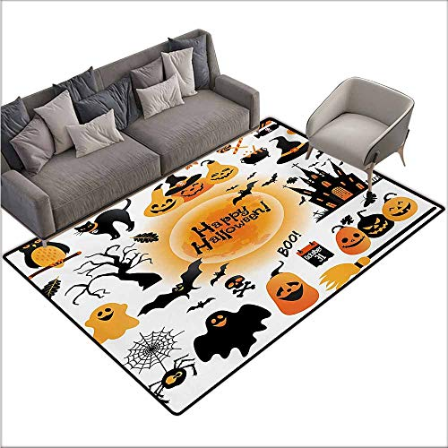 Door Rug for Internal Anti-Slip Rug Halloween All Hallows Day Objects Haunted House Owl and Trick or Treat Candy Black Cat Durable W78 xL94 Orange Black]()