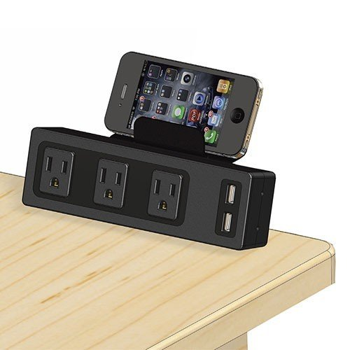 WireRun Manta, Edge Mount Desk Outlet, 3 AC Outlets & 2 USB Ports, 3.1A USB Charger, Color: Black