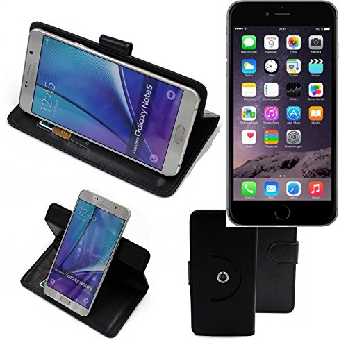 Case 360° Cover pour Smartphone Apple iPhone 6 Plus, noir | Fonction Stand Case Wallet BookStyle meilleur prix, la meilleure performance - K-S-Trade (TM)
