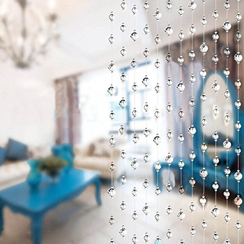 Bdenise 10 Packs Crystal Bead Curtains for Bedroom Closet Doors Doorways Windows Total 32.8 ft (Clear) (Clear Beads Door)