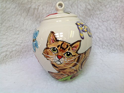 Cat Pet Memorial Urn, Personalized at no Charge. Signed by Artist, Debby Carman. by Faux Paw Productions, Inc., Laguna Beach, CA