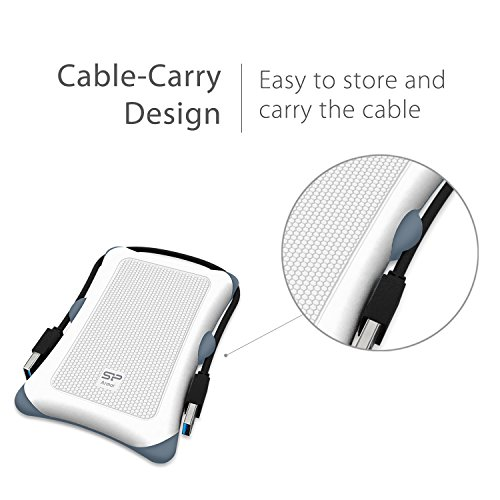 Silicon Power 2TB Type C External Hard Drive USB 3.0 Rugged Armor A30 Military-Grade Shockproof, Dual Cables Included  (Type C to Type A & Type A to Type A), White by Silicon Power (Image #4)